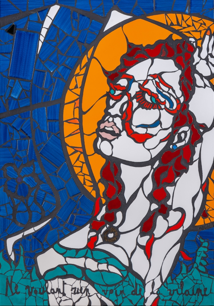 Orodè Deoro L'estasi della modella Mosaico ceramico vetro e stucco su pannello Cm 70x100 2021 - foto ANTONIOLEO_IT